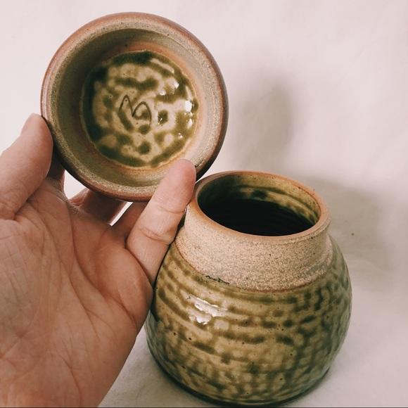 Vintage Handmade Green Pottery Jar Pot Glazed